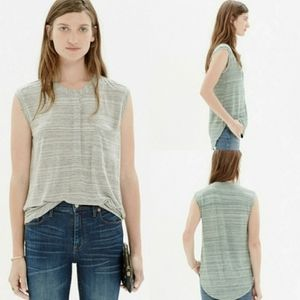 Madewell Tipoff Placket Tank Green Sage Striped